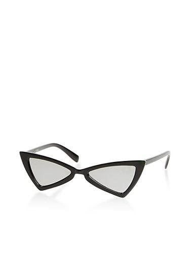 Small Geometric Mirrored Sunglasses,BLACK,large