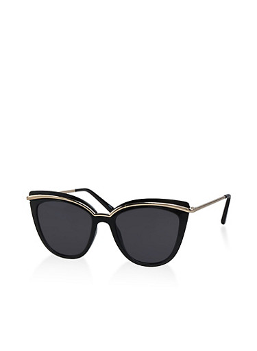 Metallic Trim Cat Eye Sunglasses,BLACK,large