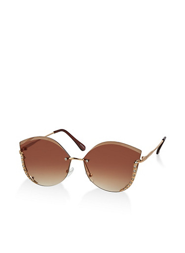 Rimless Rhinestone Studded Sunglasses,BROWN,large