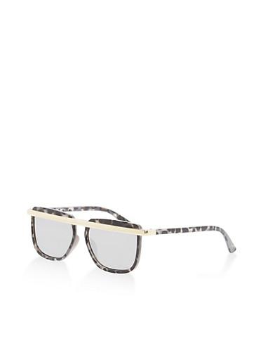Flat Metallic Top Bar Sunglasses   Tuggl