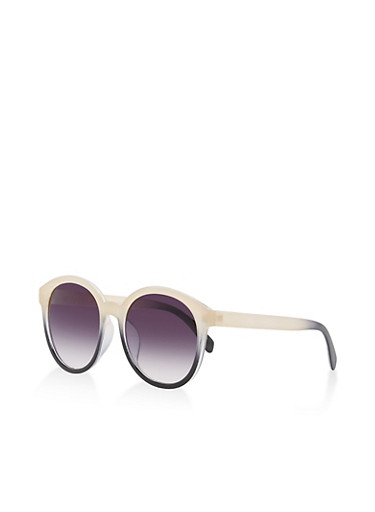 Circular Two Tone Sunglasses,BLACK,large