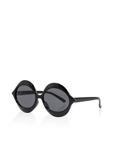 Plastic Oval Sunglasses,BLACK,large