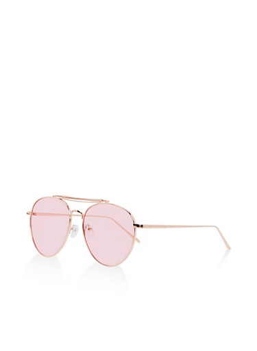 Double Top Bar Aviator Sunglasses,ROSE,large