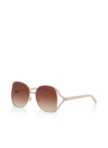 Textured Metallic Frame Sunglasses,BROWN,large