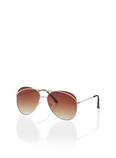 Aviator Sunglasses with Metallic Accents,ROSE/BROWN,large