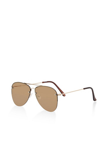 Ombre Aviator Sunglasses,BROWN,large