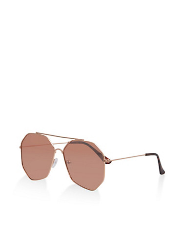 Mirrored Geometric Frame Sunglasses,ROSE,large