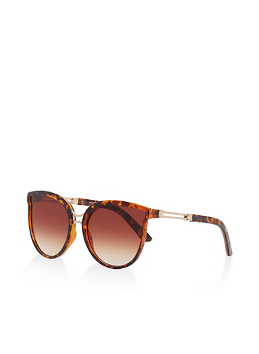 Metallic Detail Sunglasses,BROWN PTN,large
