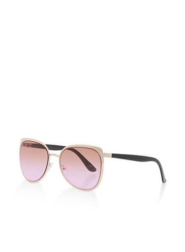 Metallic Frame Sunglasses,BROWN,large