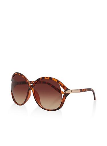 Oversized Open Side Sunglasses,BROWN PTN,large