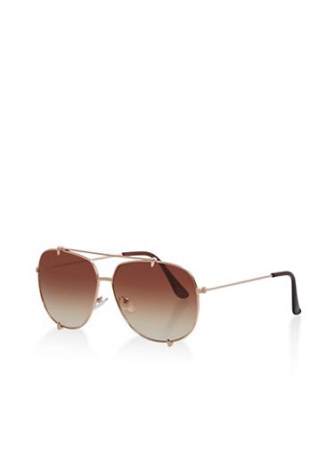 Metallic Top Bar Aviator Sunglasses,BROWN,large
