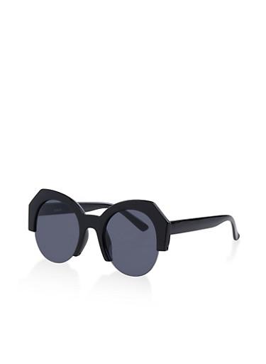 Plastic Half Frame Sunglasses,BLACK,large