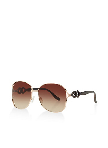 Metallic Frame Sunglasses,BROWN,large