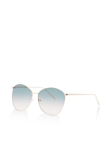Tinted Metallic Frame Sunglasses,GREEN,large