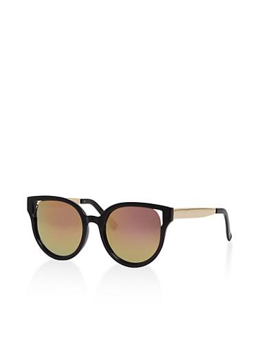 Cut Out Cat Eye Mirror Sunglasses,BLACK/FUCH,large