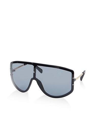 Oversized Plastic Shield Sunglasses,BLACK,large