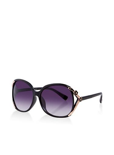 Metallic Flower Detail Oversized Sunglasses,BLACK,large