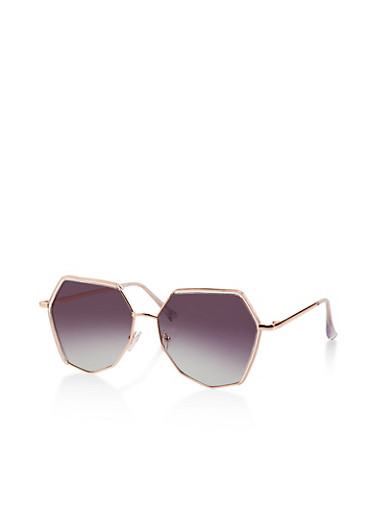 Geometric Ombre Sunglasses,GRAY,large