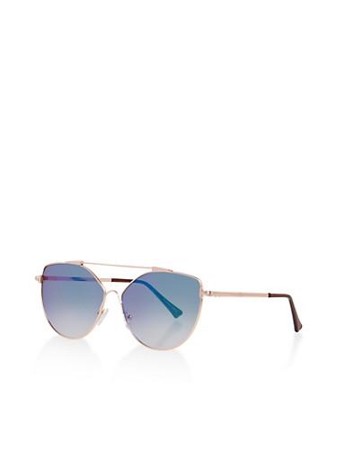 Metallic Bar Aviator Sunglasses,GREEN,large