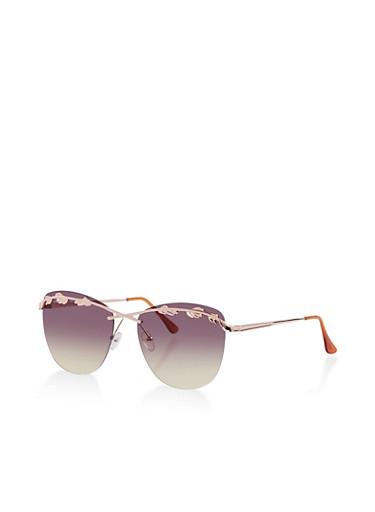 Metallic Leaf Top Bar Sunglasses,GRAY,large