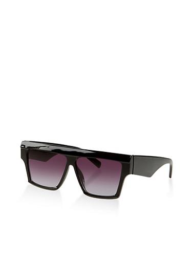 Square Plastic Sunglasses,BLACK,large