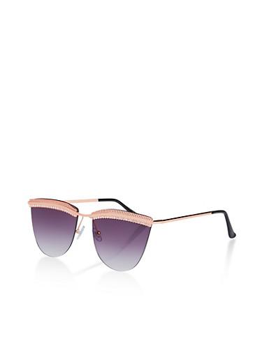 Rhinestone Browline Rimless Sunglasses,GRAY,large