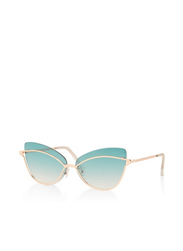 Cat Eye Metallic Trim Sunglasses,GREEN,large