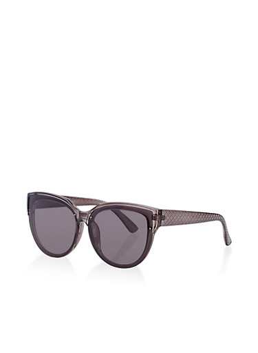 Textured Arm Detail Sunglasses,GRAY,large