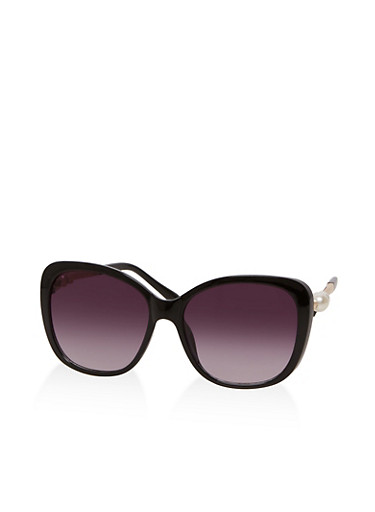 Faux Pearl Detail Sunglasses,BLACK,large