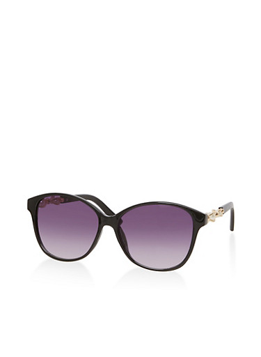 Caged Faux Pearl Detail Sunglasses,BLACK,large