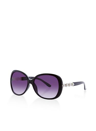 Faux Pearl Studded Sunglasses,BLACK,large