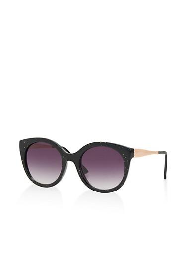 Circular Glitter Accent Sunglasses,BLACK,large
