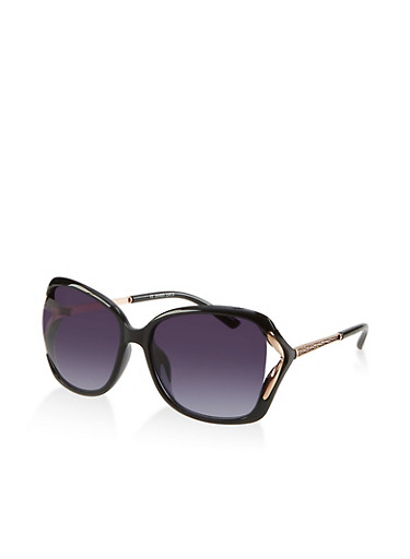 Metallic Cut Out Sunglasses | 1134071212036,BLACK,large