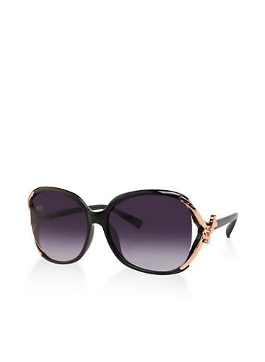 Metallic Bow Arm Detail Sunglasses,BLACK,large