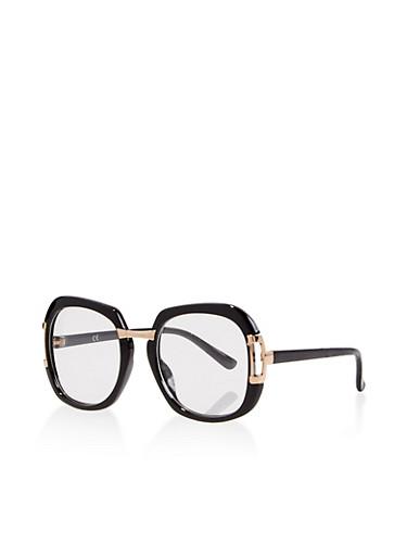 Oversized Square Glasses,BLACK,large