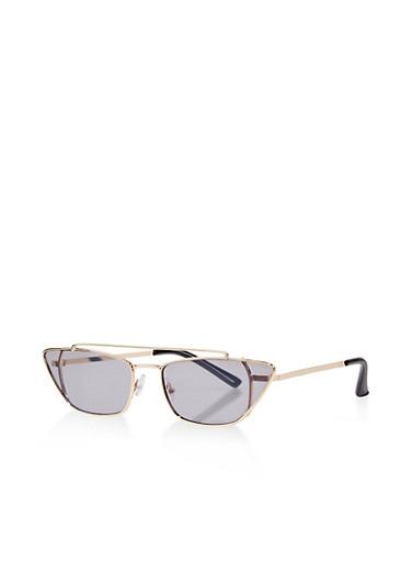 Skinny Colored Cat Eye Glasses,GRAY,large