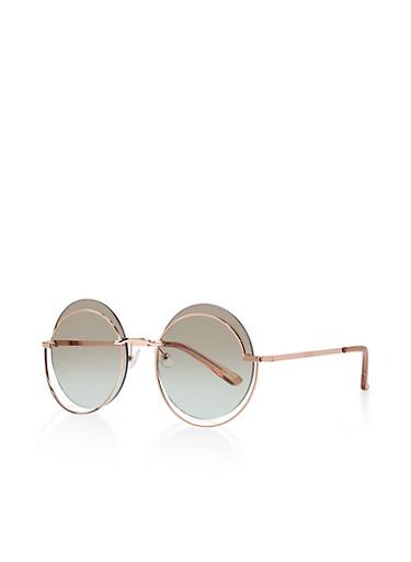 Round Metallic Sunglasses,BROWN,large