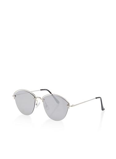 Metallic Half Frame Sunglasses,SILVER,large
