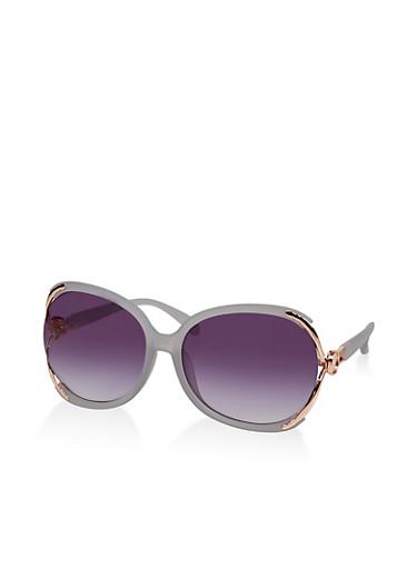 Large Open Metallic Side Sunglasses,GRAY,large