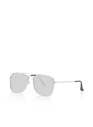 Mirrored Top Bar Sunglasses,SILVER,large