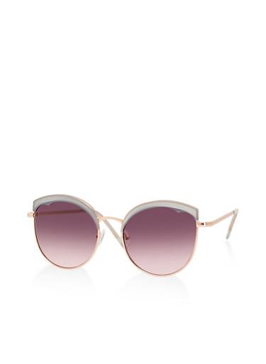 Colored Plastic Browline Sunglasses,GRAY,large