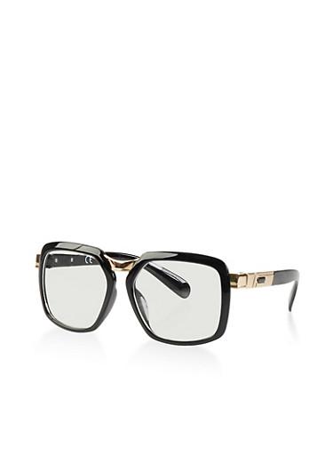 Clear Square Plastic Glasses,BLACK,large