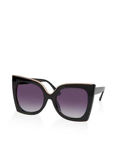 Square Metallic Detail Sunglasses,BLACK,large
