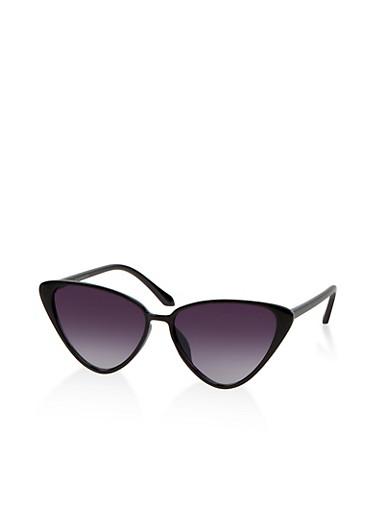 Plastic Cat Eye Sunglasses   1134071216400,BLACK,large
