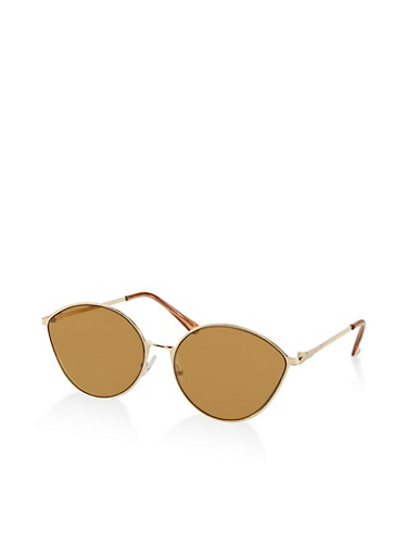 Metallic Colored Tear Drop Sunglasses,BROWN,large