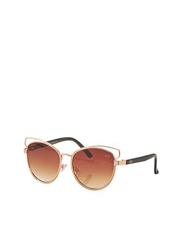 Double Rim Cut Out Cat Eye Sunglasses,BROWN,large