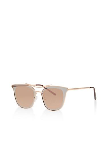 Mirrored Metallic Rim Sunglasses,PURPLE,large