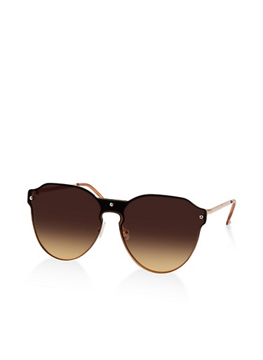 Ombre Shield Sunglasses,BROWN,large