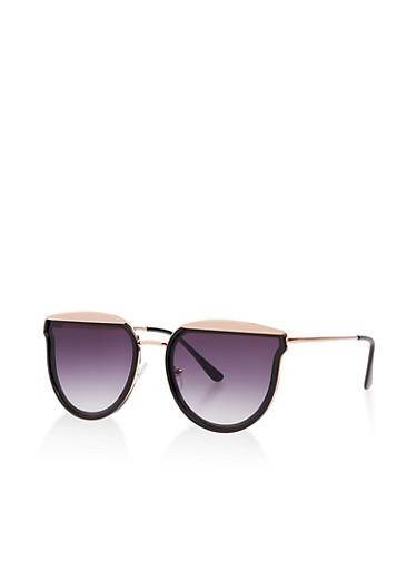 Metallic Top Trim Sunglasses,BLACK,large