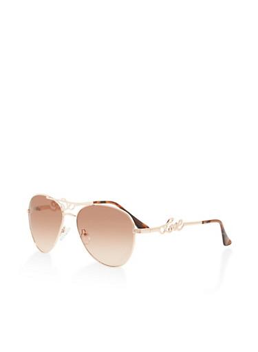 Love Detail Aviator Glasses,ROSE,large